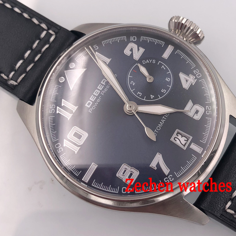 Debert Sapphire Glass 42mm blue Dial Power Reserve Automatic Men's Watch date 316L stainless steel case цена и фото