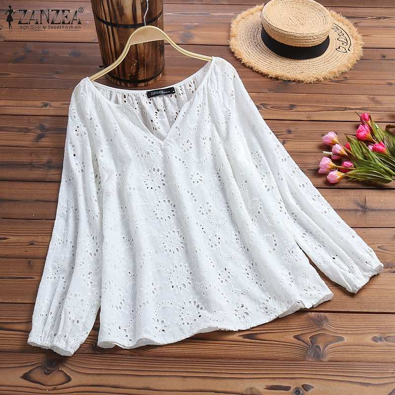 ZANZEA Women Autumn Hollow Out Shirt Elegant V Neck Embroidery Blouse Female Tops Tunic Casual Solid Long Sleeve Blusas Mujer