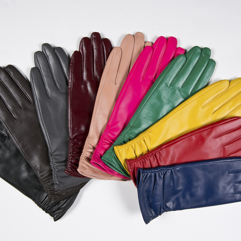 040ea3529920f Gours Winter Long Genuine Leather Gloves Women Fall 2016 New Fashion Brand  Ladies Red Warm Gloves Girls Goatskin Mittens GSL005-in Gloves   Mittens  from ...