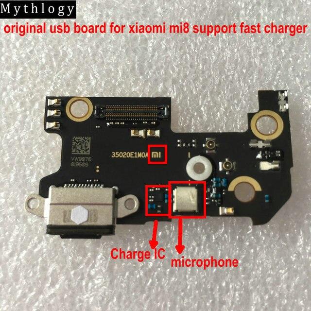 מיתולוגיה מקורי לxiaomi Mi8 USB לוח Flex כבל Dock מחבר מיקרופון טלפון נייד IC תמיכה מהיר מטען