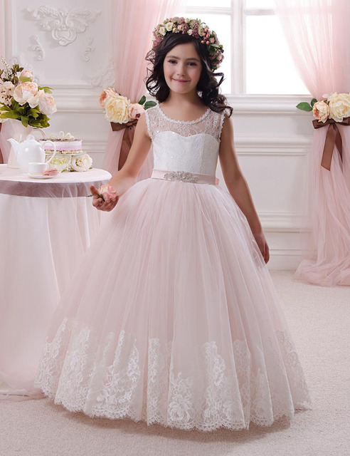 f2afc2baeb6 2016 Flower Girl Dresses For Weddings Light Pink Long Floral Lace O