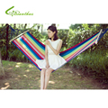 200*80cm Single-Person Hammock Outdoor Leisure Bed Hanging Bed Double Sleeping Wood Stick Canvas Swing Hammock Camping Hunting
