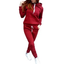 2019 Womens Hooded Sports Suits Sexy Sportswear 2 Piece Set Jogging Tracksuit For Women