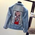 2016 новых женских цвета красота печать джинсовой куртке дамская свободного покроя широкий пальто женский мода верхняя одежда бесплатная доставка JN248