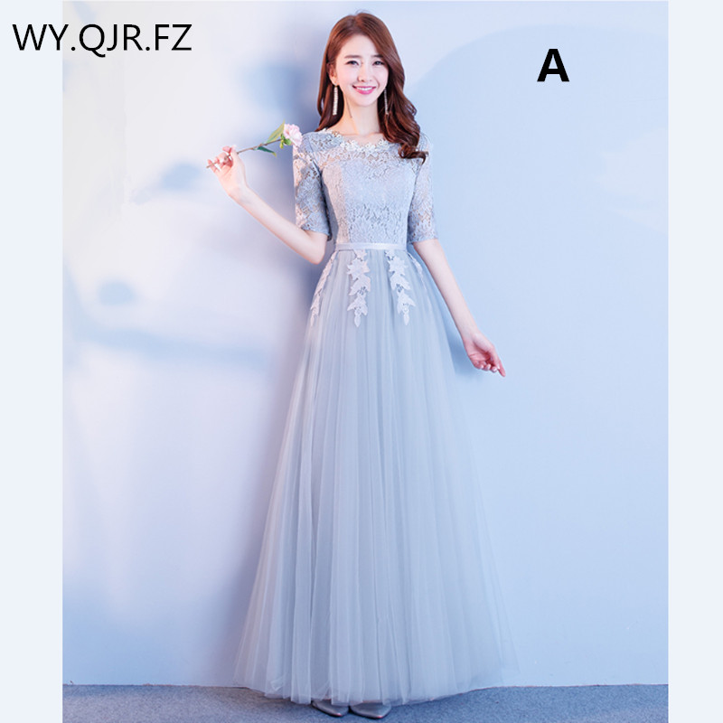 JYX01#Lace Up New Grey Long Bridesmaid Dresses For Spring Summer 2019 Sisters Group Wedding Party Prom Dress Cheap Wholesale