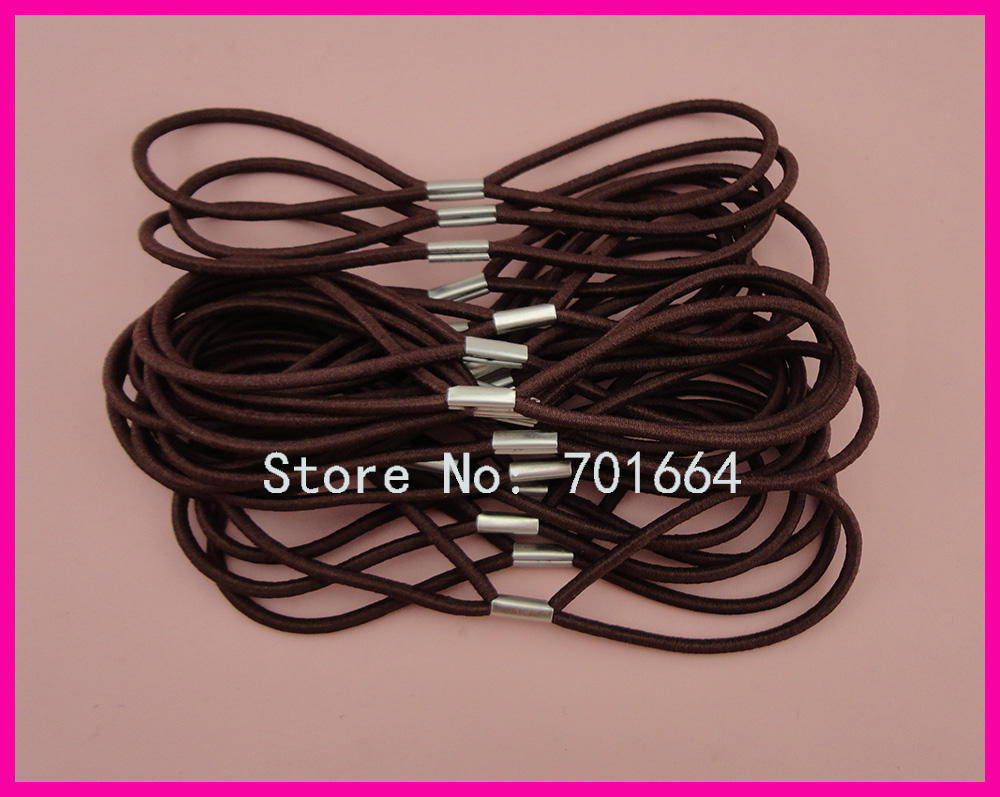 50PCS 3mm Double Circles Dark Brown Elastic hair Bands as connecter of headbands with silver metal button