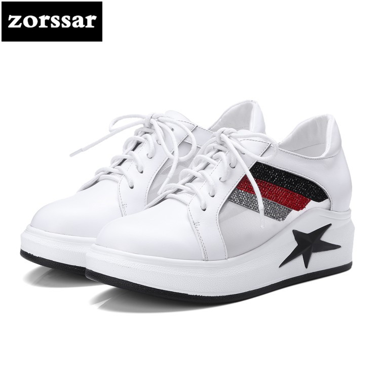 {Zorssar} 2018 New Genuine Cow Leather Female shoes Casual flats Shoes Comfortable Flat platform women sneakers shoes Breathable hzxinlive 2018 flat shoes women breathable flats shoes for women ladies casual platform female fashion summer sneakers footwear