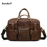 Pure Handmade Handbags Genuine Leather Laptop Bag Crossbody Bag Crazy Horse Leather Shoulder Bag