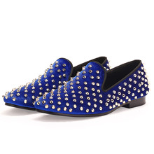Harpelunde Slip On Studs Men Shoes Blue Dress Shoes Spikes Blue Velvet Loafers Size 7-14