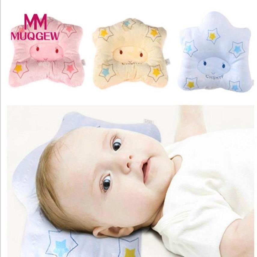 MUQGEW Baby pillow star Pillow Soft Cotton Cartoon Newborn Baby Pillow Flat Head Sleeping Positioner Support Cushion Prevent