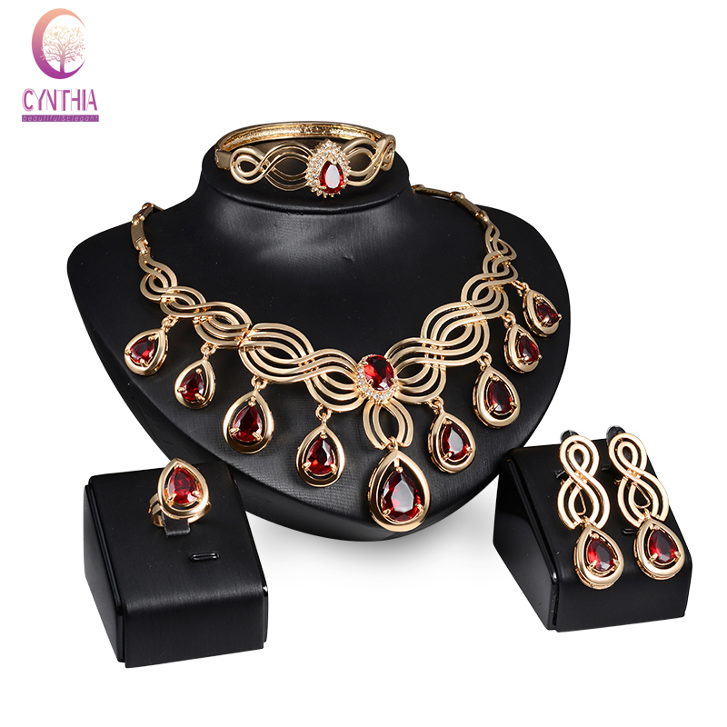Fashion Austria Crystal Water drop Red Black Green Zircon necklace jewelry sets Classic design Gold color women Party gift