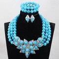 Azul de la manera sistemas de La Joyería Nupcial de La Boda Africana de Nigeria Coral Perlas/Mujeres Collar de Perlas de Set Envío Libre CJ865