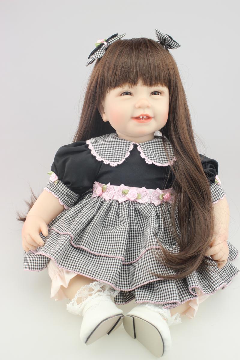 22 pouces 55 cm Silicone souple Reborn poupée Longhair souriant bébé fille nouveau-né poupée cadeau de nouvel an Brinquedos Bebe Reborn enfants jouets