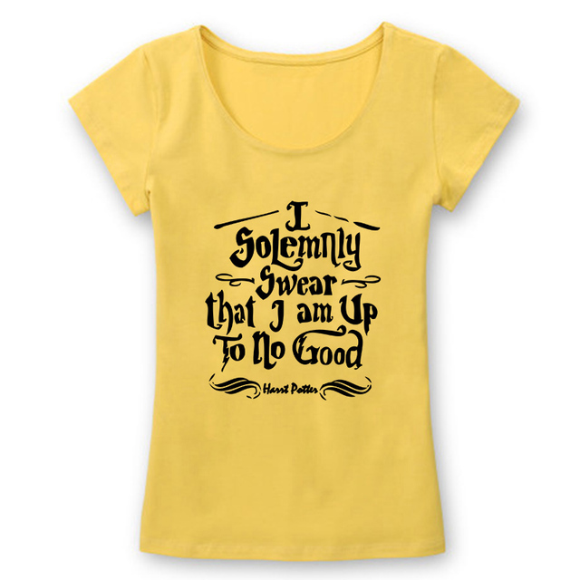63aed3bb5 Harry Potter I Solemnly Swear that I am Up To No Good T Shirts Women Slim  Fit Cotton Tshirts Female Letters Print T-shirts