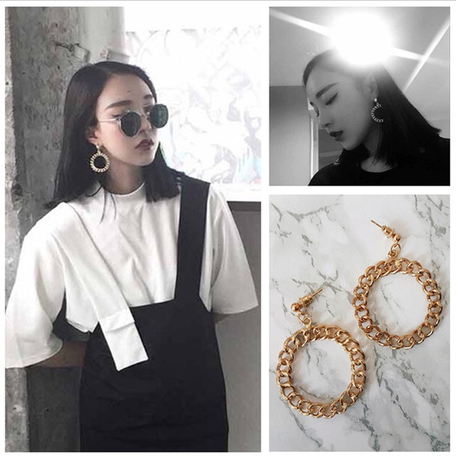 E0124 Hot Sale Punk Style Round Circle Earrings Gold Color Loop Drop Earrings Fo