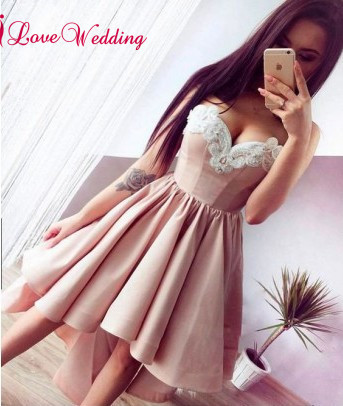 New Fashion 2018 Sweetheart Lace Applique Pink Satin Asymmetical Skirt Cheap Long Prom Dresses