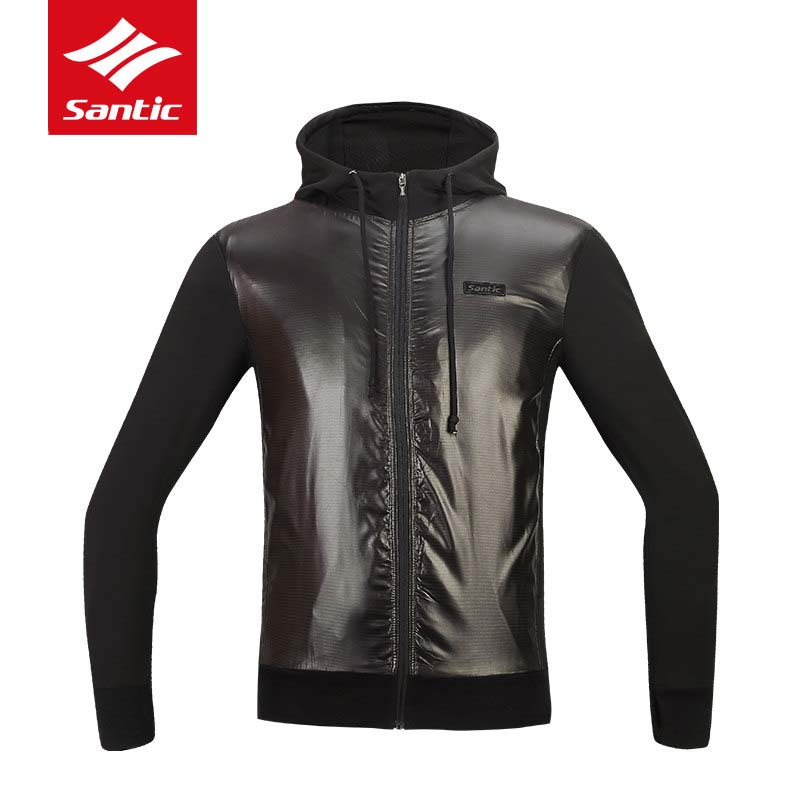 Santic Cycling Jackets Men 2018 Winter Windproof Hooded Bike Clothes Warm Fleece Road Bicycle Jersey Wind Coat Ropa Ciclismo