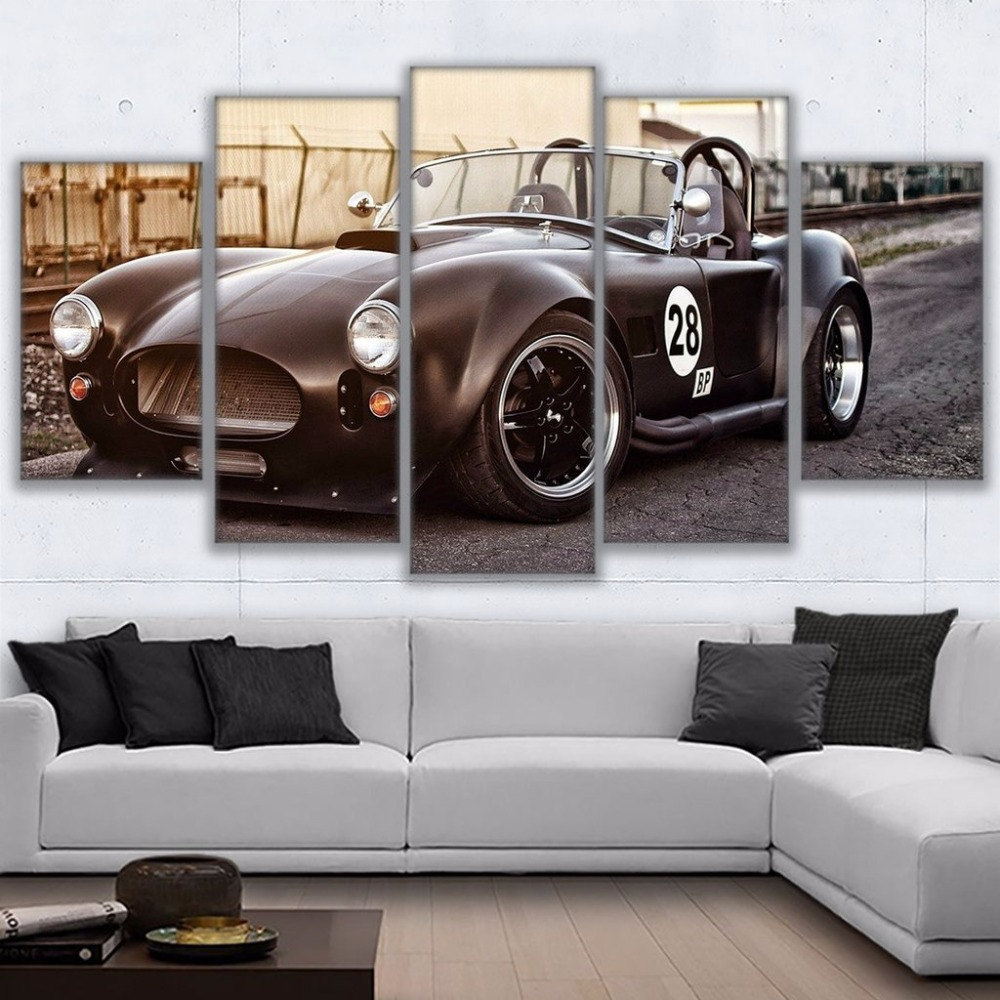 Canvas Pictures Wall Art Framework Home Decor 5 Pieces Retro Black Sports Car Paintings Living Room HD Prints Sunset Ford Poster