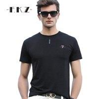 FKZ Stylish Design Cotton Men Tshirt Pure Casual Round Neck Black White Novelty Loose Men Clothing