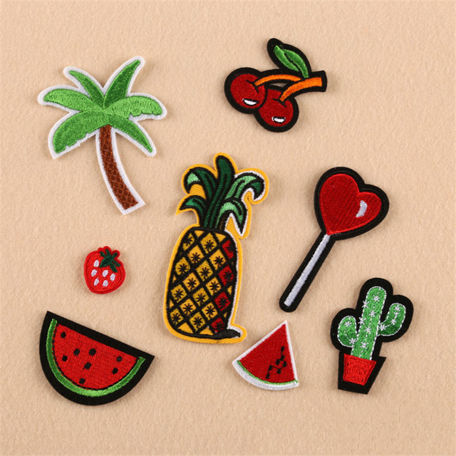Embroidered Patches Stickers For Clothes Fruit Coconut Cactus