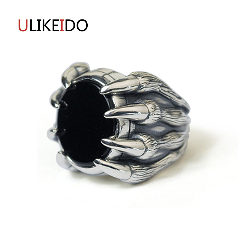 100% Pure 925 Sterling Silver Jewelry Evil Claws Rings Black Ag ate Punk Men Signet Ring For Women Special Fine Gift 1022 punk style pure color hollow out ring for women