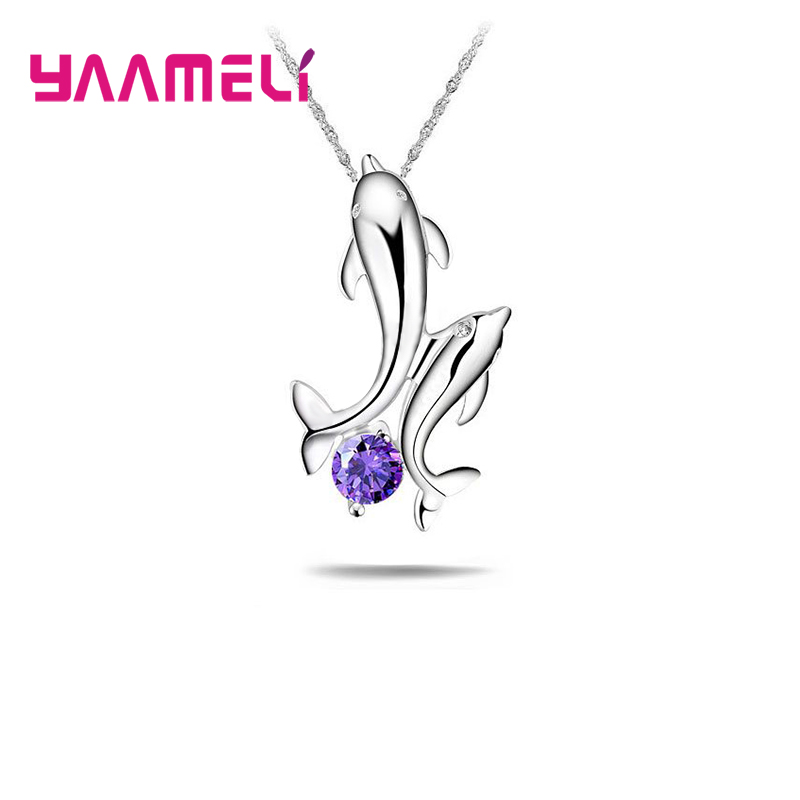 YAAMELI hot Sale Style Double Dolphin Super Cute 925 Silver Pendant Necklace For Women Valentines Day Best Gift Free Shipping