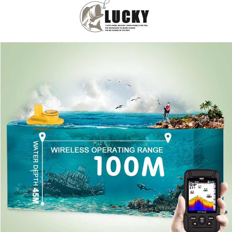"""Image 4 - LUCKY FF718LiCD 200KHz/83KHz 45 100M Dual Frequency 2 in 1 Fish Finder 2.8"""" Color LCD  Fishfinder Echo Sounder Sonar for Fishing-in Fish Finders from Sports & Entertainment"""
