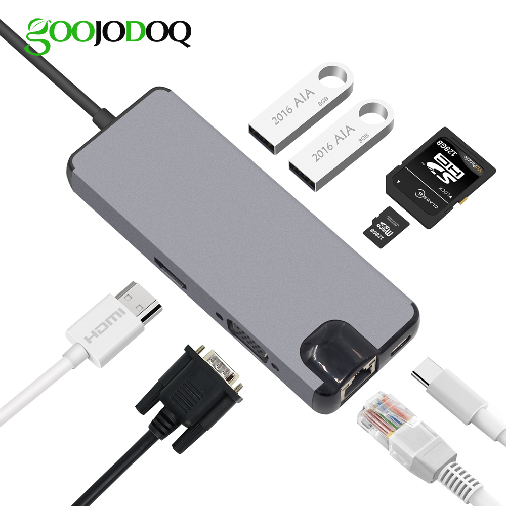 USB C Hub HDMI VGA Ethernet Lan RJ45 Adapter for Macbook Pro, GOOJODOQ Type C hub Card Reader 2 USB 3.0 + Type C Charging port