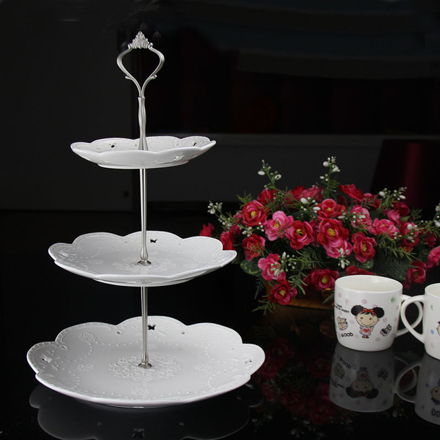 1 Set 3 Tier Three Layers Cake Plate Stand Holder Crown Shape Metal ...
