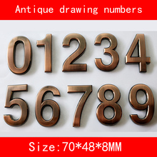1PCS 0-9 Antique drawing House Numbers 70*48*8mm Plastic ABS Hotel Home Door Number Digits Sticker Plate Signs Address DIY