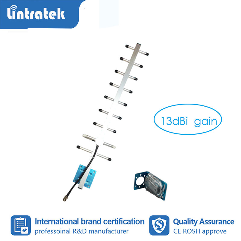 Lintratek 13dB Gain 9 Units Yagi Antenna GSM CDMA Outdoor Antenna N Female For Cell Phone Signal Booster Repeater Amplifier S6