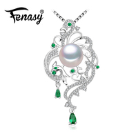 FENASY 925 sterling silver phoenix necklace ,pearl jewelry statement necklace ,Pearl pendant for women beryl Bohemia necklace
