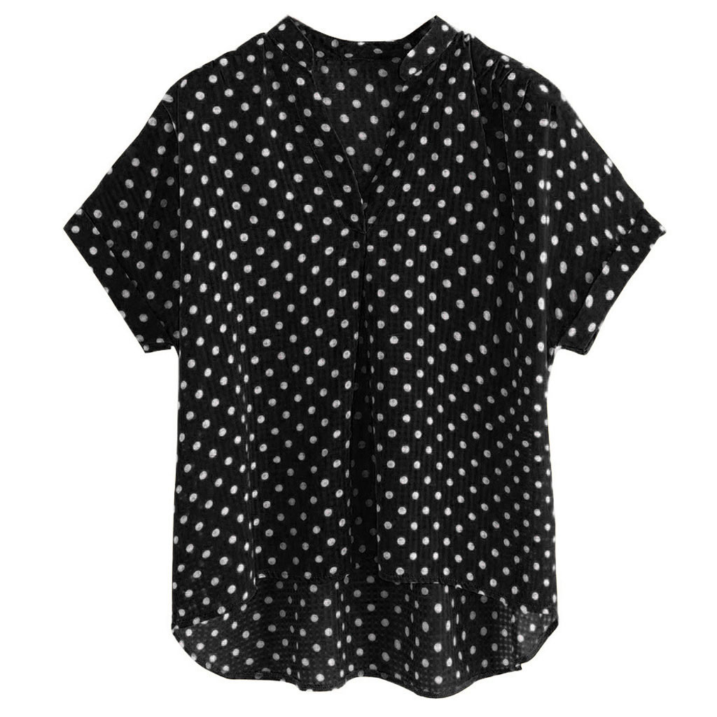 SAGACE Fashion womens tops and   blouses   sexy Women V-Neck Short Sleeve Polka Dot Print Casual Top   Blouse     shirt   female   blouses   top
