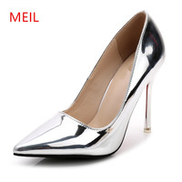 10 CM Sexy Stiletto Silver Heels Ladies Shoes Pumps High Heels Female Wedding Party Shoes Patent Leather Lady Office Shoes Women