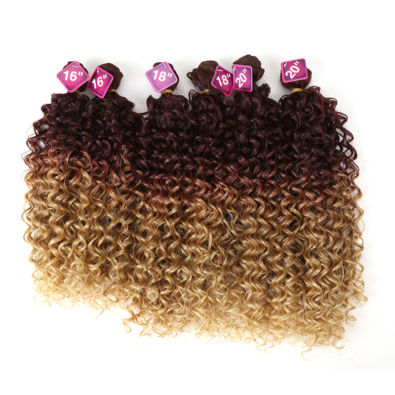 "Synthetic Afro Kinky Curly Hair Blonde 16-20""Inch 7pcs/Lot Synthetic Hair Extensions 6Pieces With Closure Lace For Black Women(China)"