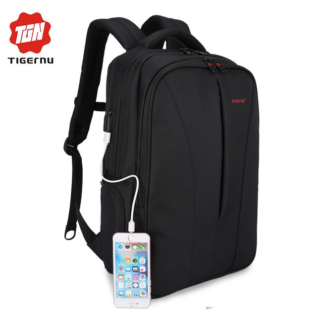 2017 tigernu nova carga usb à prova d' água 15.6 polegada laptop homens mochila mochilas para adolescente meninas saco mochila de viagem para as mulheres