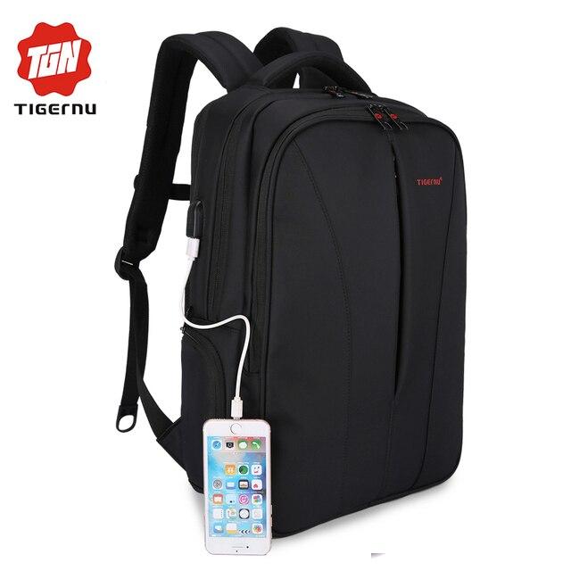 2017 tigernu nueva carga del usb impermeable 15.6 pulgadas laptop backpack hombres mochilas para adolescentes niñas mochila bolsa de viaje para las mujeres