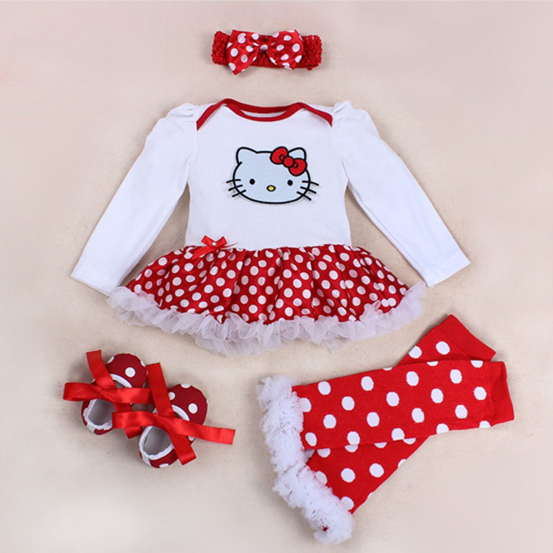 Spring 2018 Hello Kitty Baby Girl Clothes Romper Dress Legwarmers