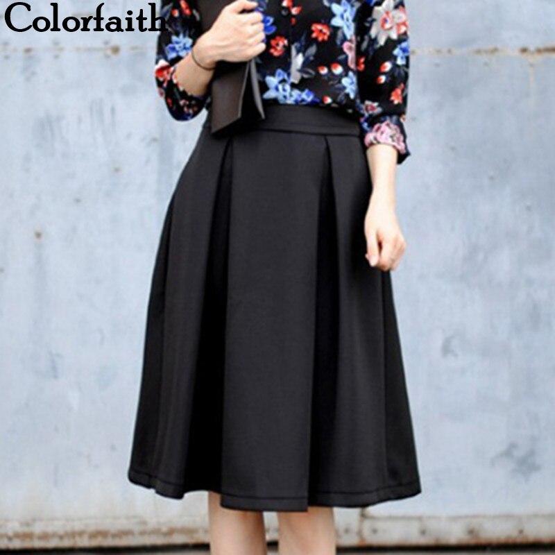 2017  Autumn Winter Flared Skirt Pleated Midi Skirt Retro Style Ladies High Waist Elegant Vintage Femininas Saias 3543