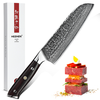 HEZHEN Brand 7'' inch Santoku Knife VG10 Damascus Steel Kitchen Meat Cooking Tools Accessories with Madagascar Dalbergia Handle