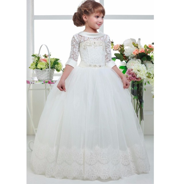 dd35e24618 2017 Cute Lace Tulle First Communion Dresses Girls Half Sleeves Flower Girl  Dresses Charm Girls Pageant