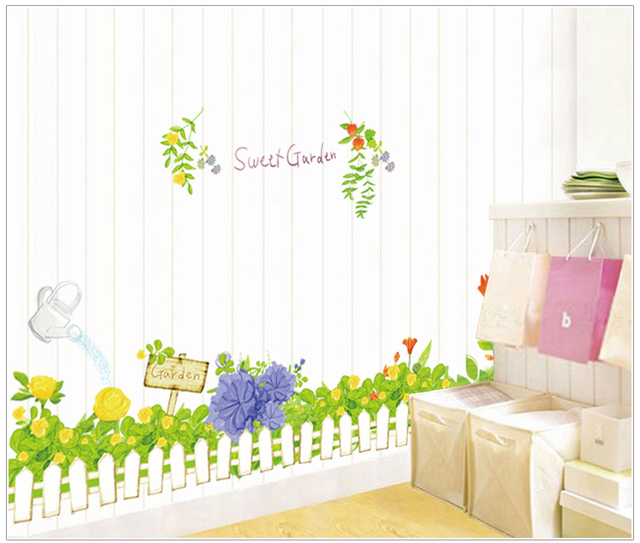 Grass Fence Put Children Room Background Stickers Play Crural Line Three  Generations Can Remove The Wall Part 48