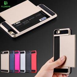 Étui pour iPhone 7 FLOVEME robuste iPhone 7 6 6 S Plus étuis à glissière 2 porte-carte housse de protection pour iPhone 6 6 S iPhone 5 S SE