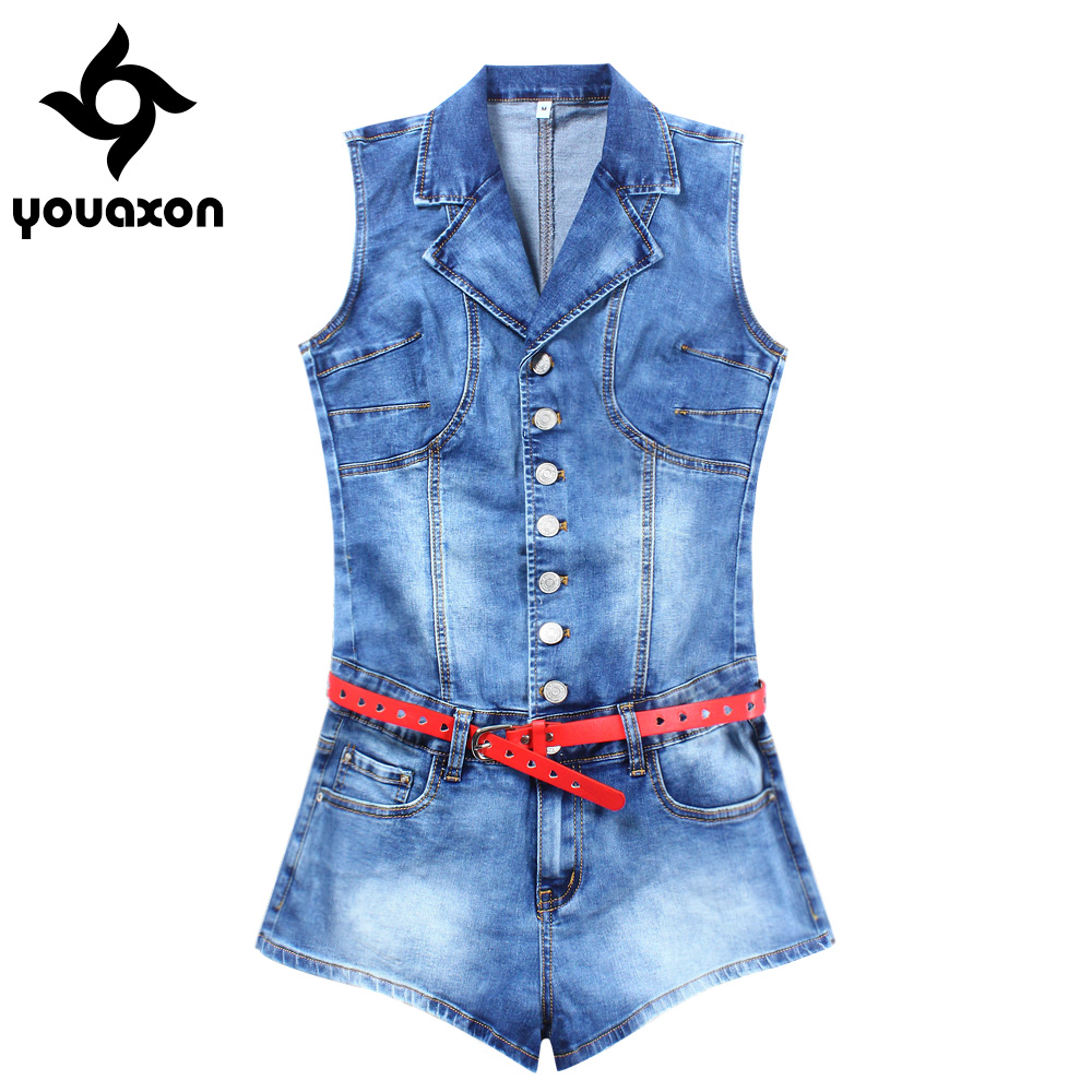 2101 Youaxon Summer Sexy Denim Playsuit With Belt Women`s Plus Size Stretch Skinny Jumpsuit Shorts For Women Denim Overalls denim
