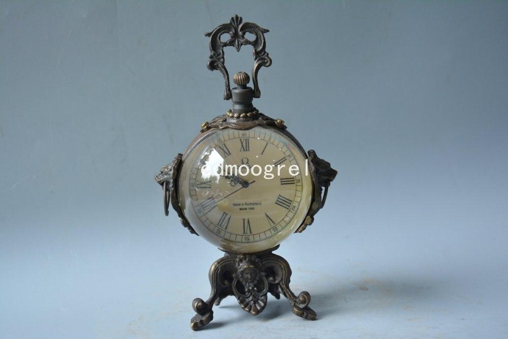 Horloge Antique de la dynastie Qing | Horloge de beauté royale en cuivre occidentale, sculptée à la main, fonctionnant correctement, boule de verre, magnifiquement conçue