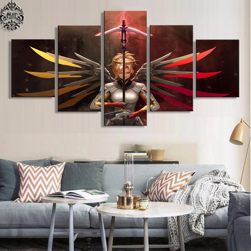 5 Panel Overwatch Mercy Decoration Game Poster Modern