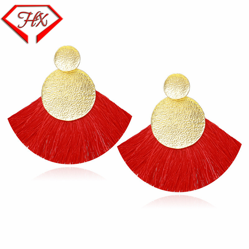 HX 2018 Big Fan Shaped Tassel Earrings Earr Handmade Fringes Stud Earrings Metal Charm Women Jewelry Beach resort style ...