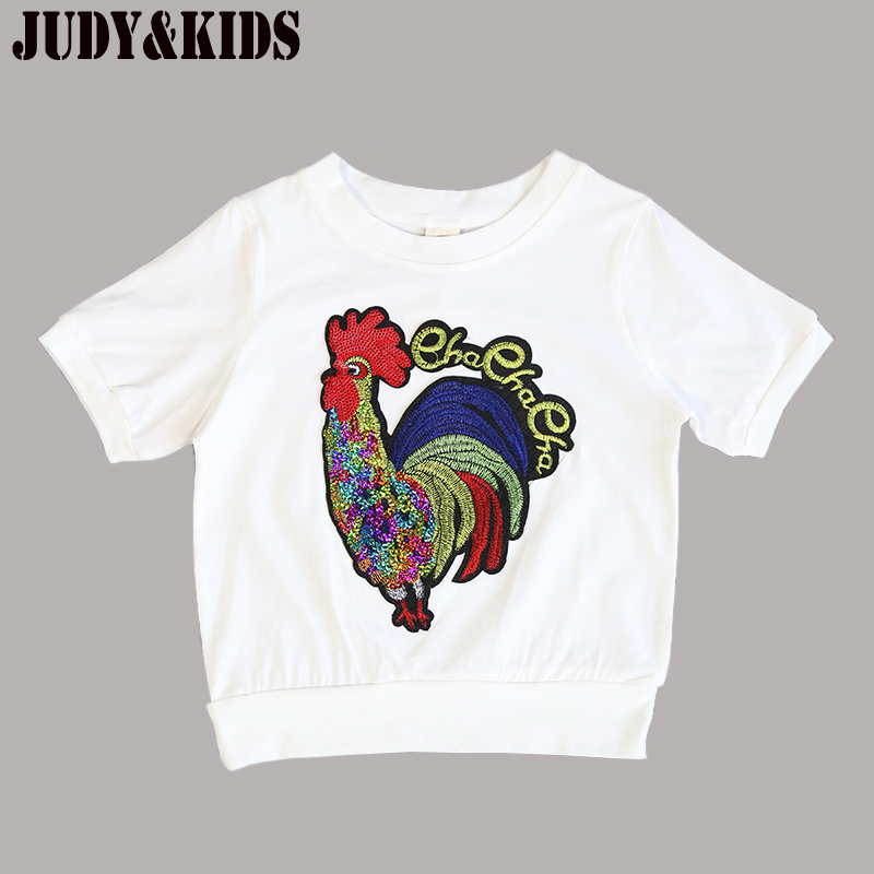 T-Shirts For Boys Girls Summer New Shorts Tees Luminous T-Shirt Cock Animal Sequins Prin ...