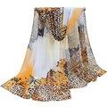 2017 nueva bufanda pashmina mantón de la bufanda larga de las mujeres del verano imprimió la gasa de seda del cabo tippet silenciador echarpes Bufandas