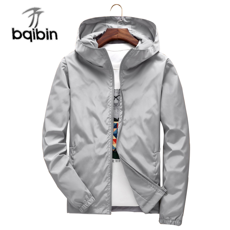 BIAOQIBING 2018 Spring Men's Hooded Jacket Windbreaker Solid Color Bomber Jackets Men Zipper Coat Male Clothings Plus Size 7XL